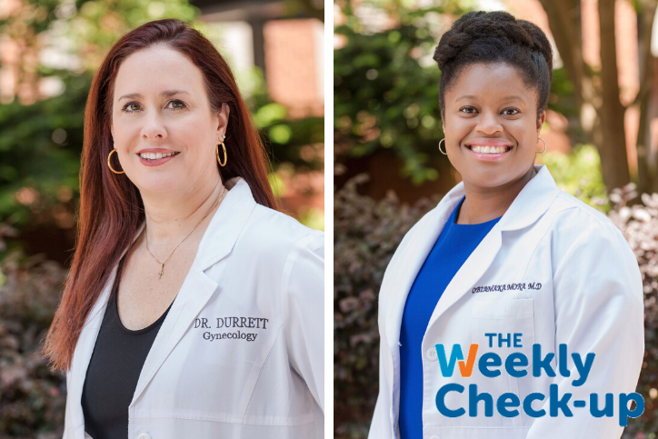 Headshots of Dr. Lynley Durrett and Dr. Obiamaka Mora for the Weekly Check Up Show