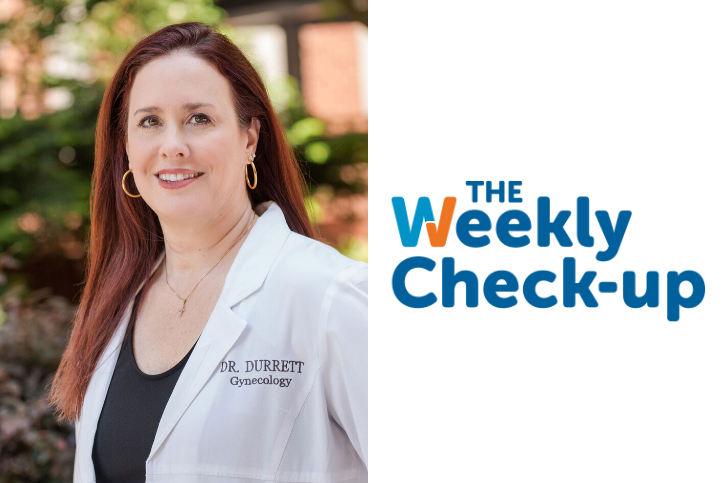 Headshot of Dr. Durrett with Weekly Check Up Logo