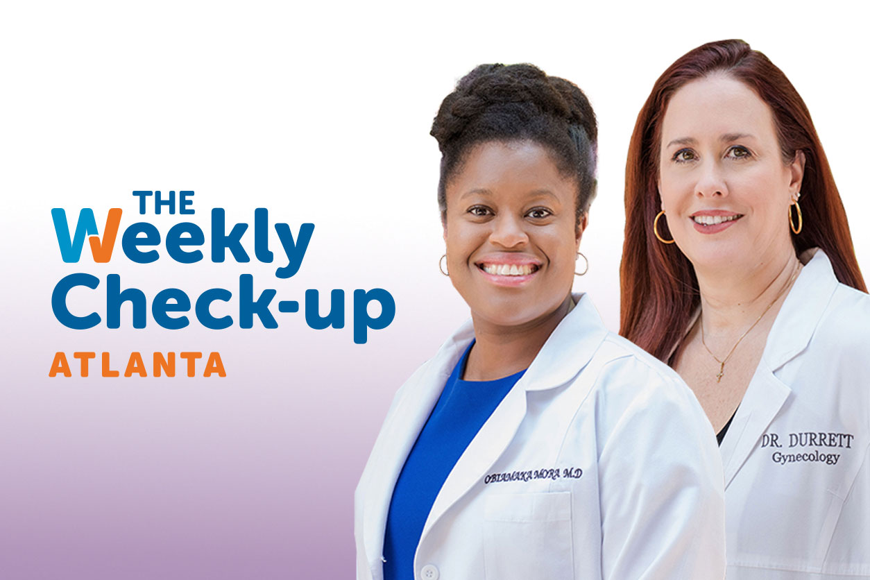 The Weekly Check-Up logo and headhots of Dr. Obiamaka Mora and Dr. Lynley Durrett