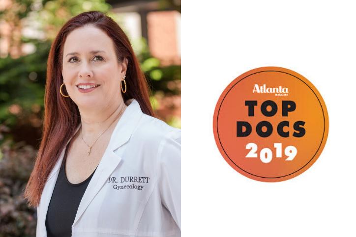 headshot of Dr. Durrett with the 2019 Top Doc Atlanta Magazine logo.