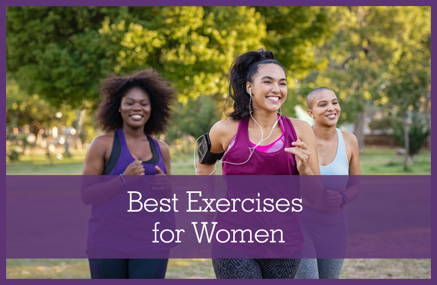 A group of diverse active women working out together, doing some of the best exercises for women.