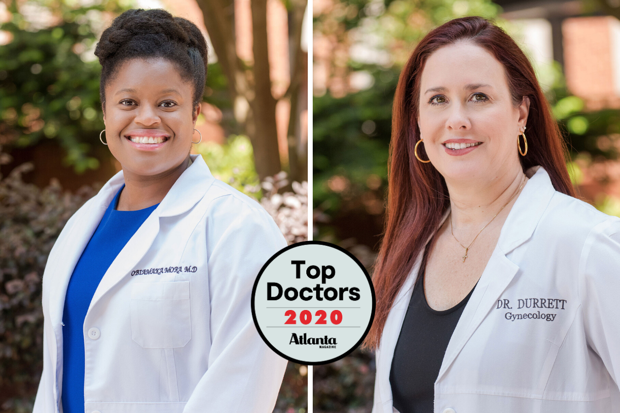 Headshot of Dr. Durrett and Dr. Mora with Atlanta Top Docs 2020 logo.