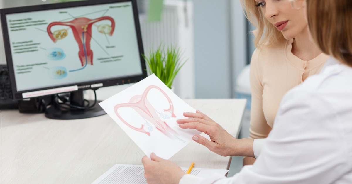 gynecologist consulting young woman at appointment